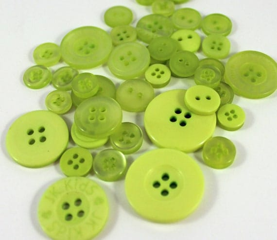 50 Lime Green Buttons-BUY 3, get 1 FREE