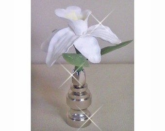 Lamp Finial white orchid hand crafted clay
