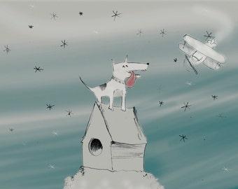 Greeting card - Dog & plane