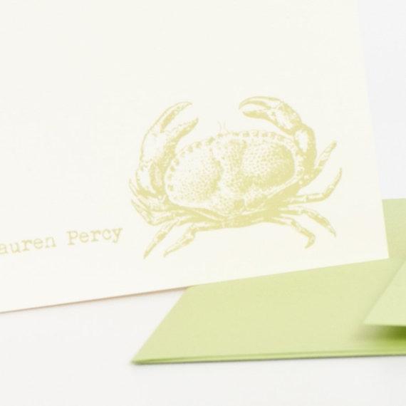 Crab Personalized Stationery Set (20) plus Matching Address Labels