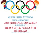 Olympic Party invitation- Olympics Birthday Invitation- Digial File, print yourself - or PRINTED INVITATIONS Double birthday party