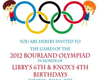 Olympic Party invitation- Olympics Birthday Invitation- Digial File, print yourself - Double birthday party