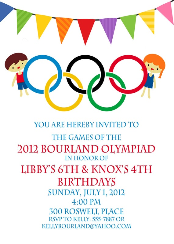 Olympic Party invitation- Olympics Birthday Invitation- Digial File ...: https://www.etsy.com/listing/104195153/olympic-party-invitation...