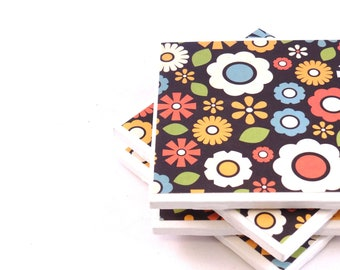 Floral Tile Coasters - Rainbow (Set of 4 Coasters)