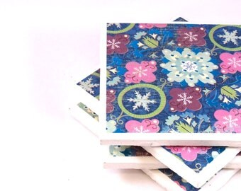 Ceramic Tile Coasters - Blues and Pinks - Set of 4 Coasters