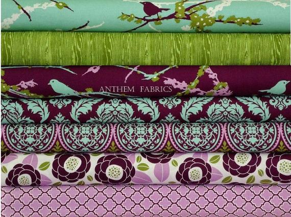 Joel Dewberry Aviary 2 Lilac palette, 1/2 yard set of 7