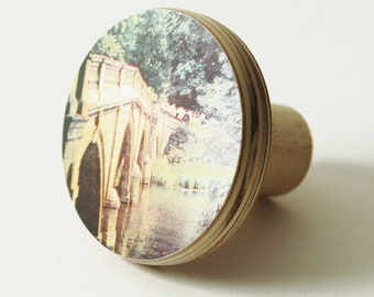 Decorative knobs, Dresser pulls, Round knobs, Landscape print, Vintage bridge
