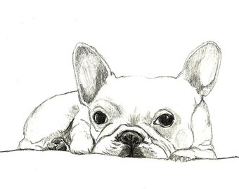 French Bulldog Art - Little French Bulldog - Dog Art,Dog Print,Dog Drawing,Dog Decor