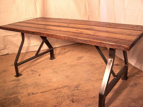 Factory Work Table With Industrial Metal Base And Reclaimed