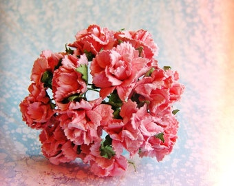 Bubble Gum Pink Peonies Vintage style Millinery Flower Bouquet - for decorating, gift wrapping, weddings, party supply, holiday