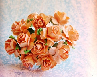 Apricot Peonies Vintage style Millinery Flower Bouquet - for decorating, gift wrapping, weddings, party supply, holiday