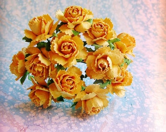 Golden Saffron yellow Peonies Vintage style Millinery Flower Bouquet - for decorating, gift wrapping, weddings, party supply, holiday