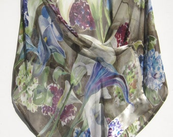 CALLAS and HYDRANGEAS Silk Wrap Original Hand Painted Calla Lilies Flowers  MOTB Bridal Silk Scarf Shawl Silk Siren SilkSiren.com Lynn Meek