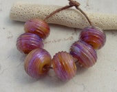 Handmade Glass Beads - Lampwork Beads - Purple