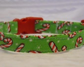 Holiday Custom Dog Collar with Mini Candy Canes Sizes XS to XL