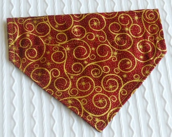 Dog Collar Bandana in Cranberry with Shiny Gold Design Sizes XS to L