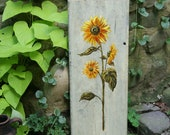 Sunflower Painting - Original Acrylic on Vintage Wood Shelf - Fireplace Hearth Decor - Garden Sunflowers