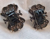 Vintage Santoyo Earrings Black Onyx Mask / Sterling Silver Mexico / Screwback - AnotherTimeAntiques