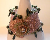Forest Green Daggers, Pink Champagne Beadwoven Bracelet