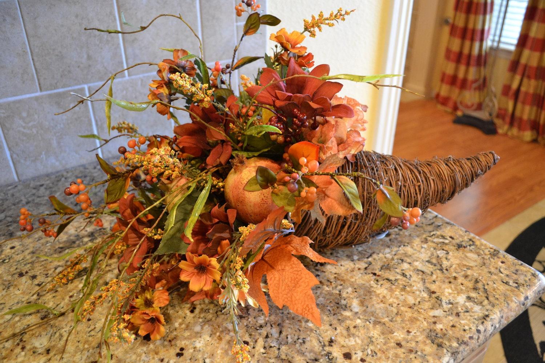 Fall harvest cornucopia arrangement by kristenscreations