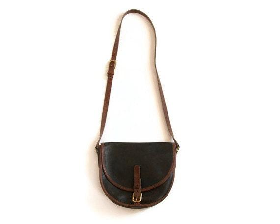 Vintage Coach Black and Brown Equestrian Saddle Bag Unique Serial