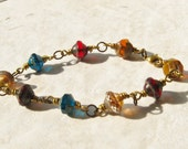 Gypsy Czech Glass and Brass Wrapped Bracelet
