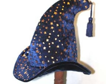 Wizard Hat Blue Velvet with Gold Stars Large by Shannon Dockery Bakos