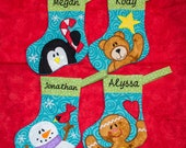 5X7 hoop CHRISTMAS STOCKINGS 4 designs penguin, bear, gingerbread, snowman fun for all  Applique