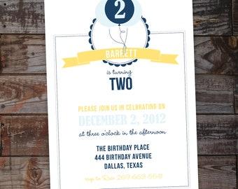 Balloon Birthday Party Invitation - Boy or Girl - Printable File