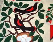 1986 Folk Art Print Fabric  - Bird of Paradise - Spring Industries - Museum of American Folk Art - Extra Wide