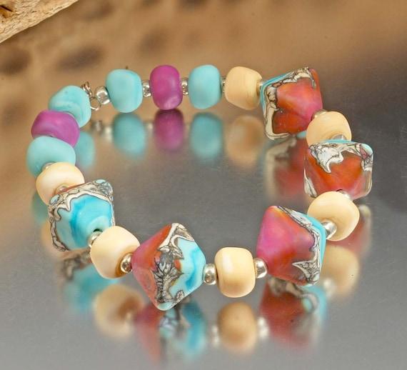 Black Friday Sale - Organic Handmade Lampwork Beads - etched turquoise, pink, purple, ivory - Sedona Dream