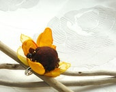 Felted ring -Sunflower dream , bright yellow and brown felt and textile  flower - katinytis