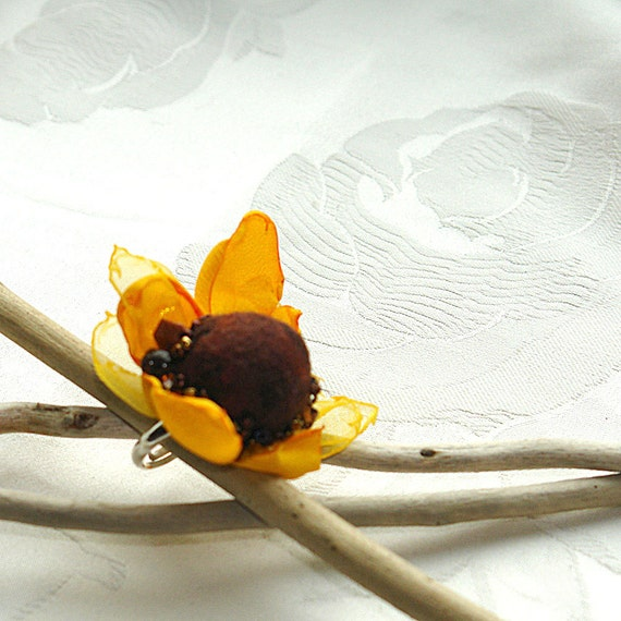 Felted ring -Sunflower dream , bright yellow and brown felt and textile  flower