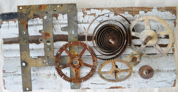 The Artists FINDS--vintage rusty brass clock gears and parts---steampunk, assemblage, altered art, jewelry supplies, mixed media