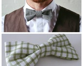 Green Plaid/Check Bowtie for Grooms and Groomsmen