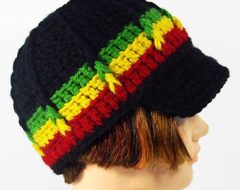 Newsboy Style Beanie Hat with Visor Brim, RASTA