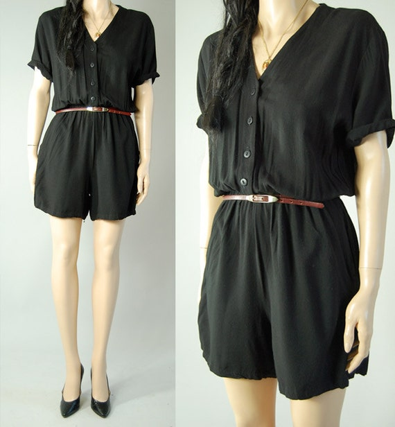 vintage 80s BLACK ROMPER SHORTS womens s/m