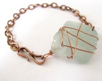 Copper Seaglass Wire Wrapped Bracelet
