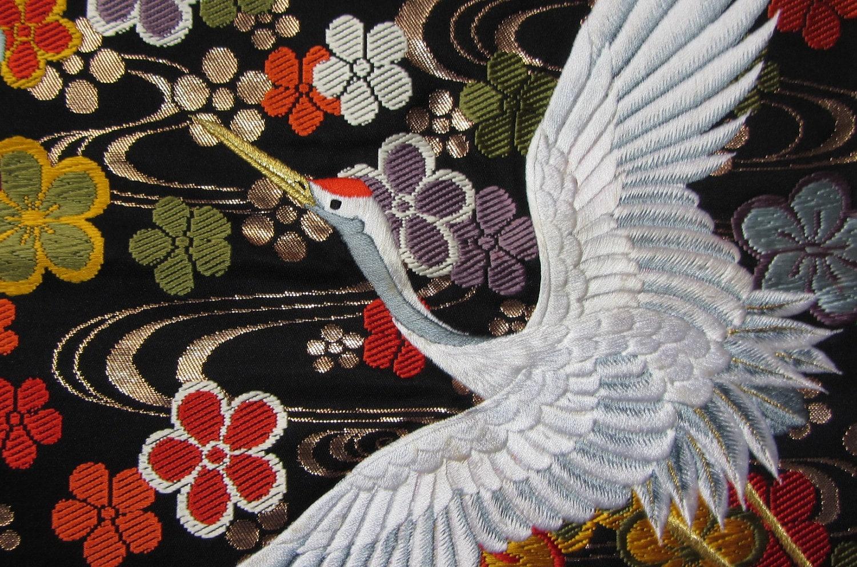 Vintage Japanese Kimono Uchikake Silk Blended Fabric Panel