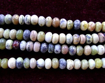 Beads, Turquoise, African, RONDELLE , Native, Tribal, Strand, , Southwestern, GREEN, Yellow, Pink, White, Brown, Matrix