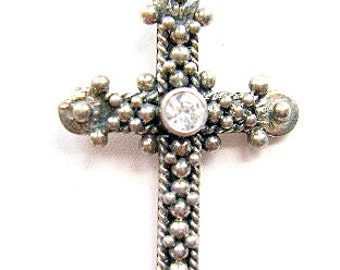 CROSS, Sterling, Silver,   RELIGIOUS, Goth, Bail, April, Birthstone, CZ, Black Onyx