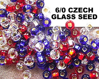 BEADS, CZECH, 4th of July, 6/0 ,Patriotic Mix, GLASS, Seed,  6/0, Spacer,  Mix, 36 Inch,  Red, Blue, Crystal, I