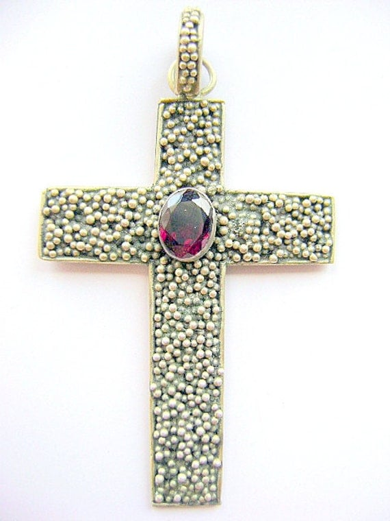 Cross, Sterling,  Silver, Garnet, Large, Granulated, Goth, Pebble