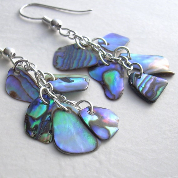 Natural Paua Abalone Earrings, Blue & Green Shell Jewelry, Peacock Wedding