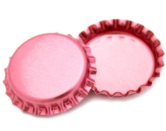 50 Metallic Pink Bottle Caps New Linerless