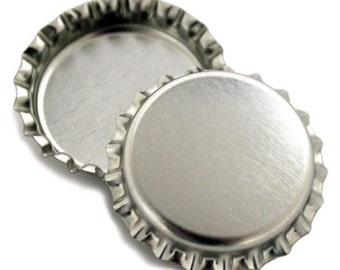 50 Chrome Bottlecaps Bottle Cap Bottlecap Caps Silver Embellishment Craft Blank