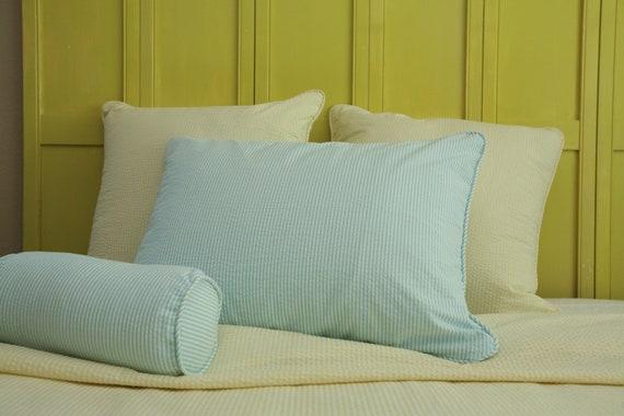 Set of 2 Seersucker Euro Pillow Shams - Yellow and White Seersucker- Sale Clearance