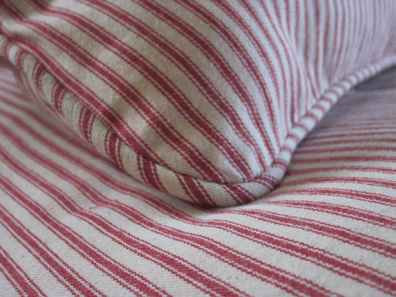 Red And Cream Ticking Stripe Duvet Cover Reserved For