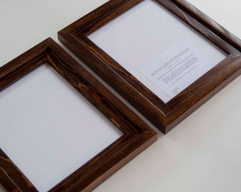 2) 8x10 Stacked pine frames stained dark walnut with a glossy finish...NOT distressed...HANDMADE