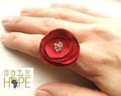 Red Flower Ring Adjustable